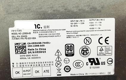 235W Dell XPS 2710 Power Supply AIO PSU 053WG5 L235EA-00